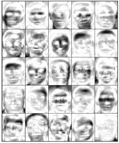 Basis images of LSNMF obtained after 500 iterations on original face images.